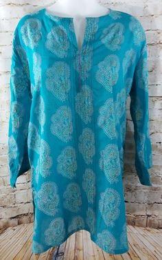 Women's Anokhi Tunic Cover Up Size XL Teal or Aqua Smooth Viscose & Cotton EUC #Anokhi #Tunic #Casual