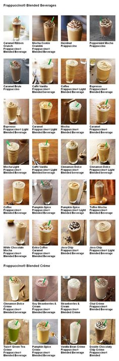 Starbucks Frappuccino Menu. You should look at this, I think you might like some of these.