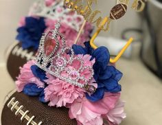 Simply Elegant By Kim 's Gender Reveal / Touchdown or Tiaras - Touchdowns or Tiaras Gender Reveal at Catch My Party Pregnancy Gender Reveal, Baby Gender Reveal Party, Gender Reveal Party Decorations, Party Themes, Baby Shower Fun, Real Quotes, Reveal Parties, Buckets, Baby Ideas