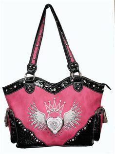 Pink Rhinestone Wing Crown Heart Purse