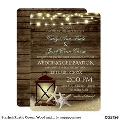 Starfish Rustic Ocean Wood and Lights Card Nautical lantern and starfish rustic beach wedding invitation with sparkle effect twinkle lights design over old wood ship planks.