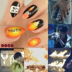 Uñas de Bts Fire creado por Not Your Average Nails Korean Nail Art, Korean Nails, K Pop Nails, Cute Nails, Army Nails, Bts Makeup, Kawaii Nail Art, Gothic Nails, Kpop