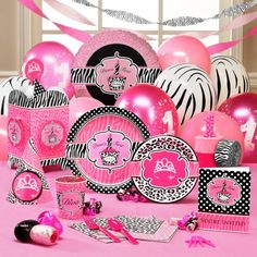 Diva Zebra Print 1st Birthday Party Supplies