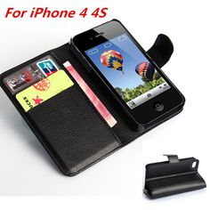Case On 4S Vintage Luxury Flip PU Leather Case For iPhone 4 4S Coque Wallet ,Hard Silicon PC Back Cover Protector Fundas celular