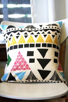 geometric pillow by leahduncan on etsy