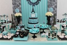 Tiffany Party, Tiffany Wedding, Paris Birthday Parties, Paris Party, Sweet 16 Birthday, 16th Birthday, Paris Sweet 16, Quinceanera Party, Sweet 16 Parties