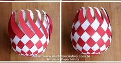 DIY paper Balls tutorial! So beautiful! Im totally making this for Christmas! Passo a Passo Bolas de Paper trançado! Lindo para decoração de natal! chirstmascrafts