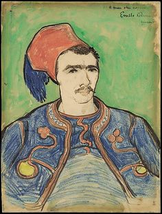 """During a spell of torrential rain that interrupted his harvest series (June 20–24), Van Gogh made his first real effort at portraiture in Arles. Two days into his campaign, he announced to Theo: """"I have a model at last—a Zouave—a boy with a small face, a bull neck, and the eye of the tiger"""