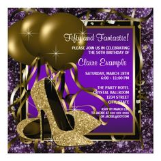 Elegant purple and gold glitter high heel shoes woman's birthday party invitations. This woman's elegant purple and gold birthday party invitation is easily customized for your party or event by adding your event details, font style, font size & color, and wording.