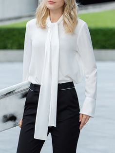 Shop Blouses - White Work Plain Stand Collar Blouse online. Discover unique designers fashion at StyleWe.com.