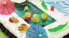 Dive-on in cake. Yellow cake with berry blue jello, decorated with teddy grahams. michaelbarker