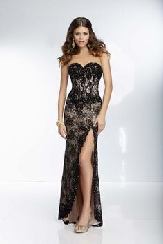 Black lace dress strapless