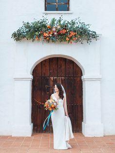 A beautiful Santa Barbara bride at El Presidio with amazing floral design by Coco Rose Design. July Wedding, Wedding Ceremony, Dream Wedding, Wedding Bouquets, Wedding Flowers, Aisle Flowers, Wedding Colors, Wedding Ideas, Wedding Decor