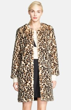 Free shipping and returns on kate spade new york 'rosalyn' faux fur coat at Nordstrom.com. Leopard spots dot a plush, collarless faux-fur coat adorned by kate spade's signature bow at the back.