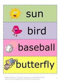 Spring or Summer Word Wheels + Word Wall