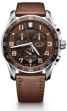 cb769cf7758 Victorinox Men s Chronograph Class XLS Brown Leather Strap Watch