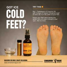 Are your feet cold in bed? Suffering on your winter trek? Spending lots of time outdoors? Try Ceylon Cinnamon leaf Oil. The laughably easy way to keep your feet warm and smell good too. Cinnamon Leaf Oil, Ceylon Cinnamon, Black Ants, Cold Feet, Oil Uses, Insect Repellent, Massage Oil, Smell Good, Aromatherapy