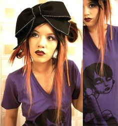 Here's part two of my bathtub photoshoot! I'm wearing Possessed, a comfy purple V-neck sent to me from Akumu Ink. The Goth girl print comes in both girls and guys sizes (XXS to XL) and is available on the web store. Are you excited yet for our fashion collaboration???  Onto the hat -- yes, that glorious bowed monstrosity sitting atop my head. I found it on sale at Timeless on Melrose, previously mentioned as one of my favorite LA shops. Had. To. Have. It wasn't until later that I realized… Giant Bow, Red Tights, Cat Scottish Fold, Aretha Franklin, Alternative Fashion, Goth Girls, V Neck Tops, Collaboration, Bathtub
