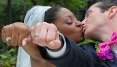 Gorgeous interracial couple on their wedding day