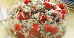 Roast tomato, feta and pine nut rice salad main image Feta Cheese Recipes, Rice Salad Recipes, Marinated Lamb, How To Cook Beans, Salad Bar, Salad Buffet, Roasted Tomatoes, Perfect Food, Dinner Recipes