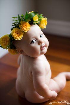 6 month baby milestone natural light studio, flower crown Erin Schedler Photography, Seattle