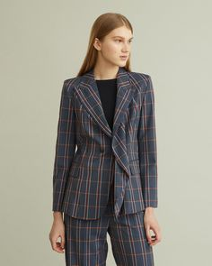 Stripe and check pattern blazer with draped front and peaked lapel. Retail Concepts, Checked Blazer, Bias Tape, Cool Suits, Apothecary, Designing Women, Model, Pattern