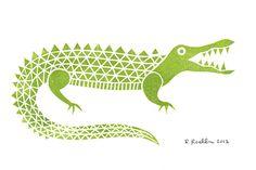 Alligator - Mini Block Print. $10.00, via Etsy.