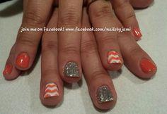 Shellac with chevron nail art. Follow me on my nail page at www.facebook.com/nailsbyjami. Message me to book your appointment. #cndshellac #nailprodigy #nailart #naildesigns #cutenails #nailartjunkie #nailpro #chevronnails #peoriail #peoriailnailtech #uniquenails #glitternails #funnails #nailspecial #followme #springnailart #summernailart #rockstarnails #silvernails #chevron