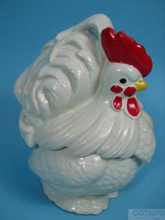 Excellent Vintage McCoy Pottery White Chicken Rooster Cookie Jar | eBay