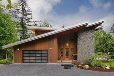 Fachada contemporánea madera y piedra                                                                                                                                                                                 Más