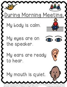 Prepare students for success during morning meeting with visual supports.