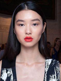 NYFW Beauty Trends Spring 2016 - Victoria Beckham cherry-red lipstick | allure.com