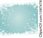 Clipart Of A Turquoise Christmas Background With Winter Snowflake ...