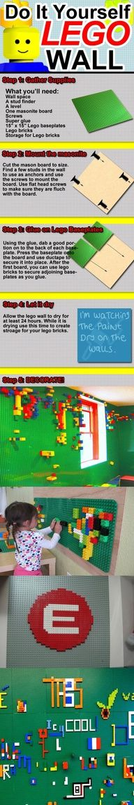 LEGO WALLS!   *such an awesome idea and would be great for a total lego area in the playroom *
