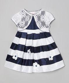 Look what I found on #zulily! Navy & White Stripe Floral Dress & Shrug - Girls #zulilyfinds