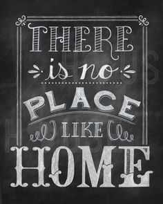 There is No Place Like Home Chalkboard Print door kendrahouse