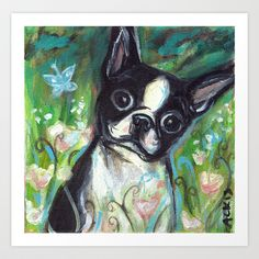 Boston Terrier butterfly green Art Print by Angie Ketelhut - $19.76
