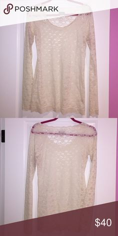 Free People Lace Long Sleeve Top Sheer long sleeve white/cream lace top. Edges feature scalloped lace. Never worn- tags are off Free People Tops