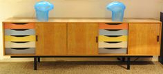 colors are bright but the drawers are cool. MID-CENTURIA : Art, Design and Decor from the Mid-Century and beyond: Finn Juhl Cabinet & Credenza Funky Furniture, Credenza, Art Deco Furniture, Decor, Furniture Ads, Modern Retro Furniture, Retro Furniture, Buffet Furniture, Cabinet