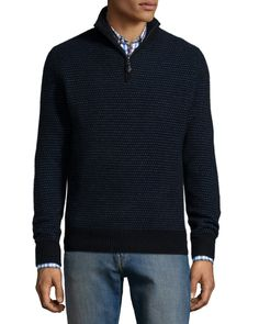 Textured Half-Zip Cashmere Sweater, Black, Size: X-LARGE - Neiman Marcus