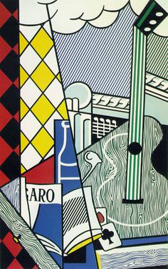 Roy Lichtenstein - Cubist Still Life with Playing Cards -Abstract Texture Roy Lichtenstein Pop Art, Jasper Johns, Picasso Cubism Paintings, Cubism Art, Picasso Portraits, Arte Pop, Henri Matisse, Giacometti, Pop Art Movement