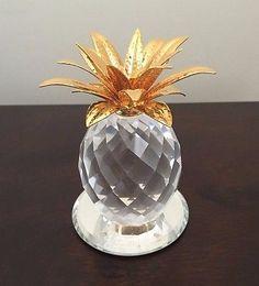 Swarovski Crystal Gold Leaf Pineapple