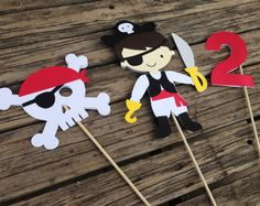 Pirate Party Center Piece Sticks - Pirate Party, Table Decorations, Baby Shower, First Birthday