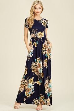 883d7ed4f2f Short Sleeve Floral Maxi Dress in Navy Modest Maxi Dress