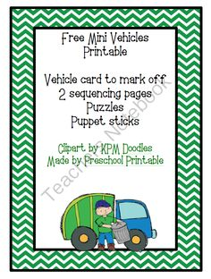 Free Mini Vehicles Printable from Fun Printables for Preschoolers on TeachersNotebook.com -  (7 pages)