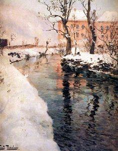 """River in Winter"" - Fritz Thaulow (Norwegian, 1847-1906)"