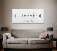 3rd Anniversary Gift Voice Wave Art I Love You by CanvasVows