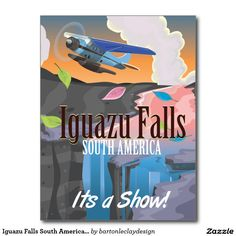 Iguazu Falls South America Travel poster Postcard