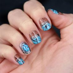 Wood And Turquoise   Chelsea King   Talented Nail Artist Behind Nailed It By Chelsea