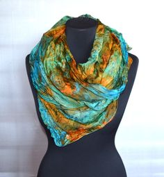 Scarf silk Carrot turquoise emerald color scarves by batikelena